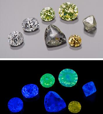 Fluorescence in a variety of colours: Photo courtesy GIA | Facets Singapore