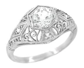 Edwardian Engagement Ring by Antique Jewelry Mall | Facets Singapore