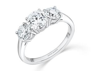 Three Stone Engagement Ring by David Morris | Facets Singapore