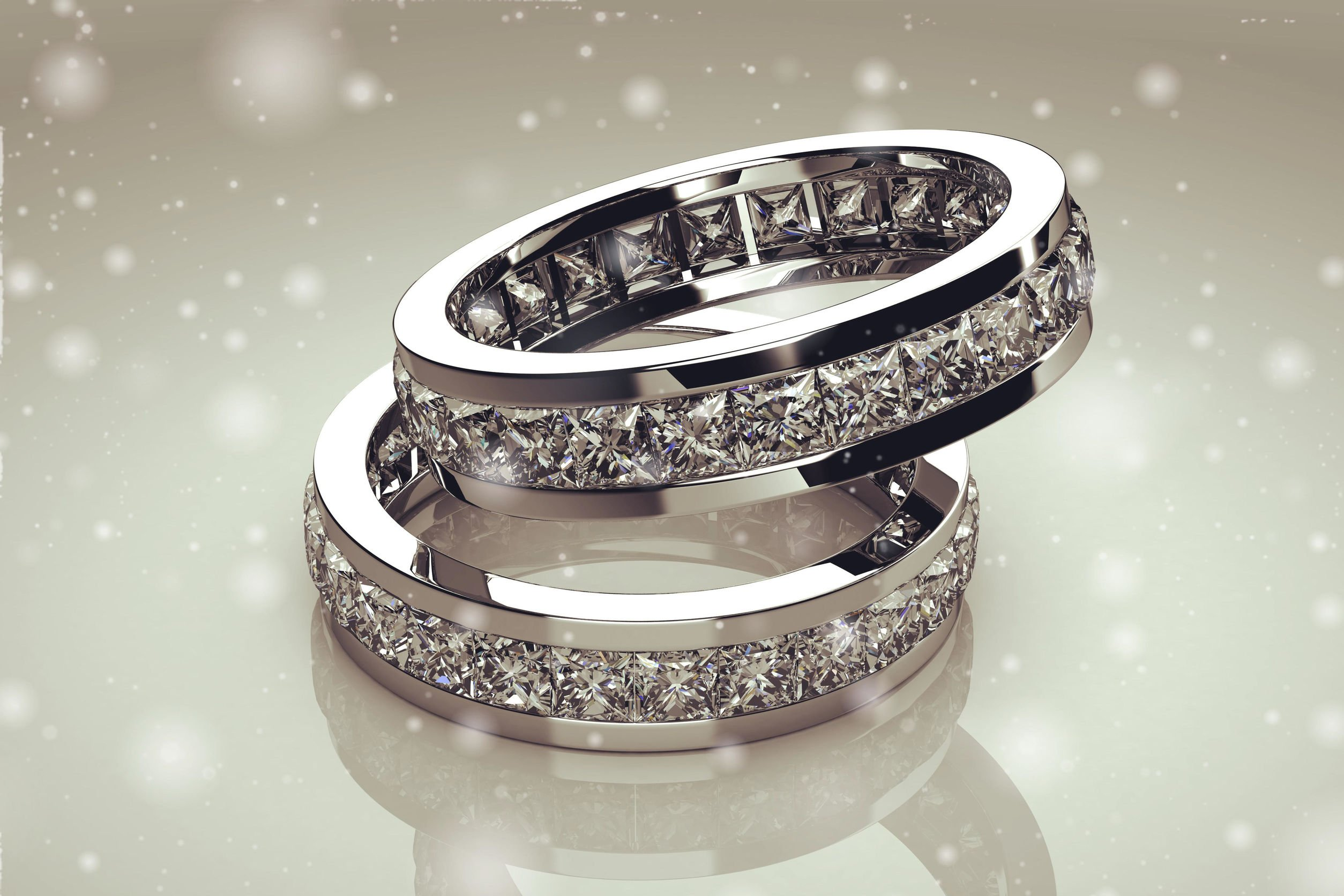 Platinum and White Gold Eternity Diamond Wedding-Bands-Facets Singapore